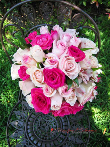 Hot pink wedding flowers hot pink roses wedding flowers hot pink roses flower arrangement mightylinksfo