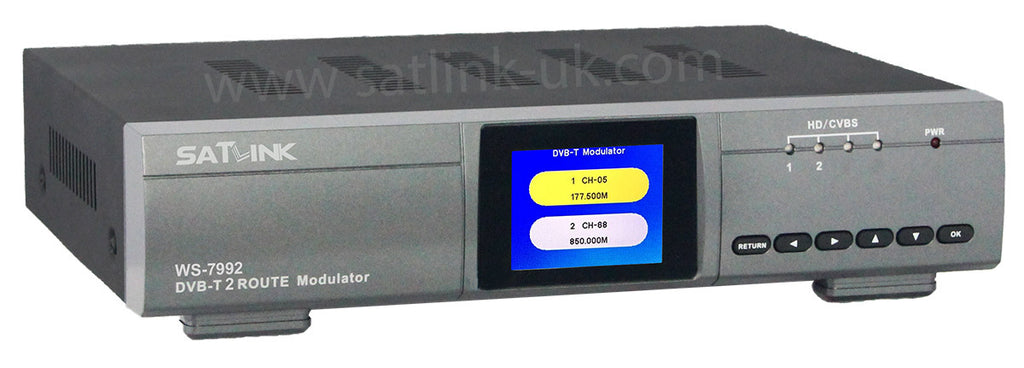 SATLINK WS 7992 2 Route   HD RF  DVB- T Modulator Inputs AV or HDMI