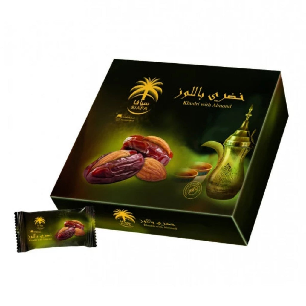 Siafa Khudry Dates with Almonds 300g Box Grade A Quality Khajoor