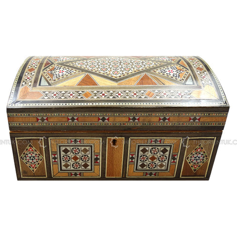 Handmade Syrian Inlaid Mosaic Wooden Jewellery Gift Box 17x27x14cm - The Orient