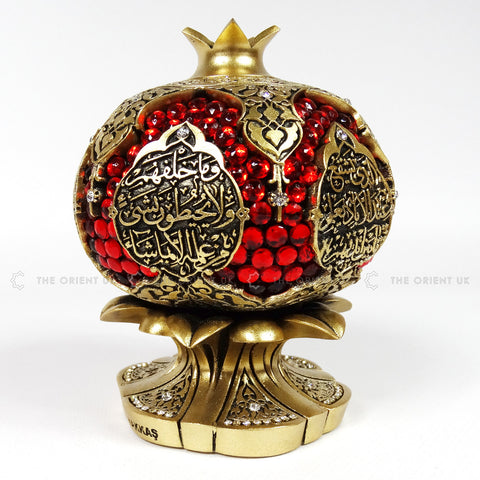 Ayat Al Kursi Red Dimonds Ornament Gold Colour 10x10x13 - The Orient