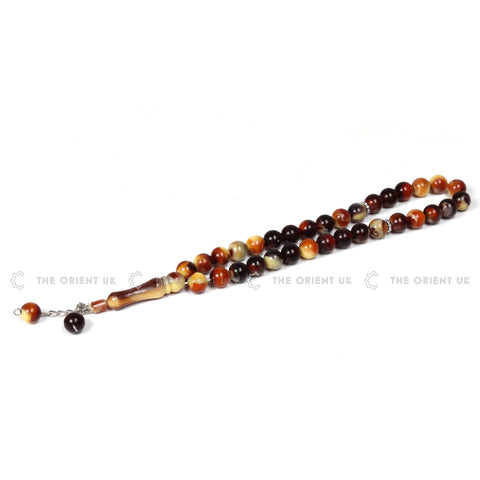 33 Prayer Beads Tasbih 12mm Big Bead Brown - The Orient