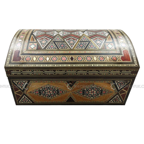 Handmade Middle Eastern Syrian Inlaid Mosaic Wooden Jewellery Chest Box 17x25x15cm - The Orient