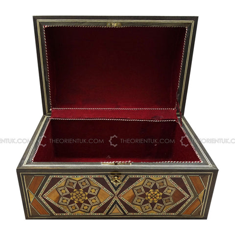 Handmade Middle Eastern Syrian Inlaid Mosaic Wooden Jewellery Gift Box 17x26x15cm - The Orient