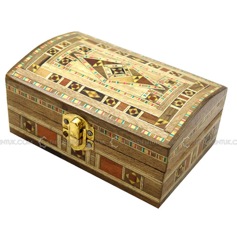 Handmade Middle Eastern Syrian Inlaid Mosaic Wooden Jewellery Gift Box 9x13.5x6cm - The Orient