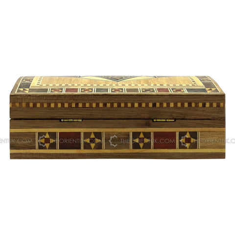 Handmade Middle Eastern Syrian Inlaid Mosaic Wooden Jewellery Gift Box 11x18x6.5cm - The Orient
