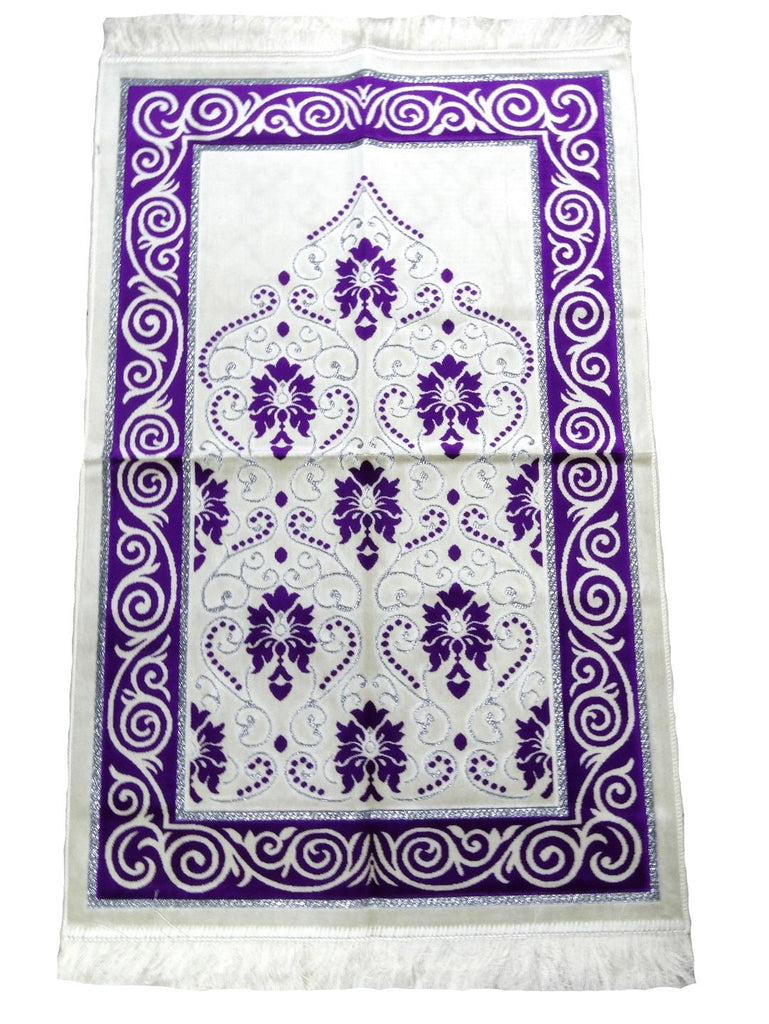 Soft Velvet Prayer Pray Mat Salah Sijada Mat Namaz Hajj 120x70 cm Purple - The Orient