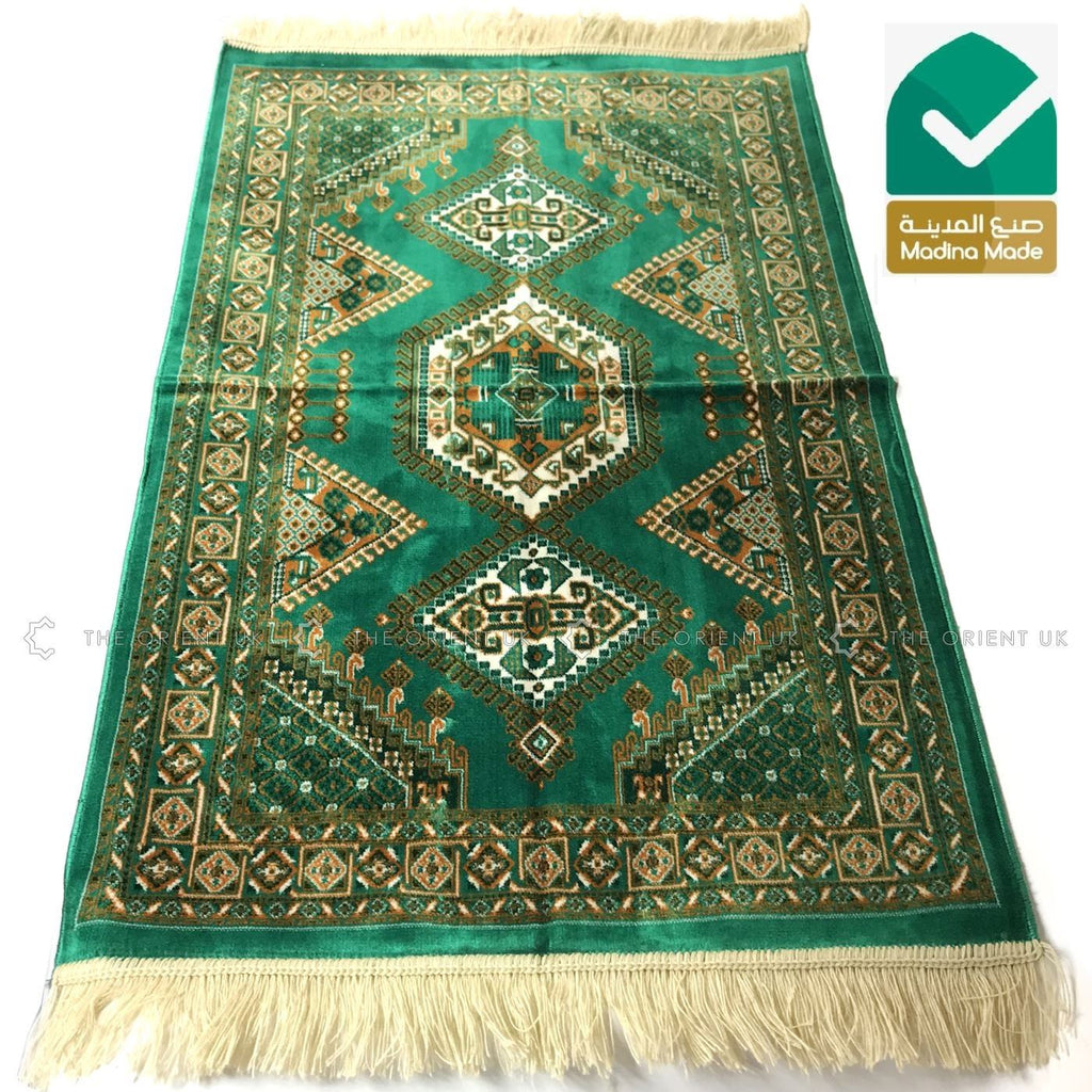 High Quality Madina Pray Mat Rug Muslim Prayer No Mihrab 110x70 Green - The Orient