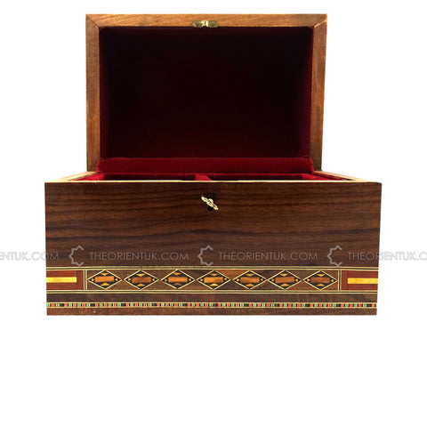 Handmade Middle Eastern Syrian Mosaic Wooden Jewellery Gift Box 15.5x23.5x16.5cm - The Orient