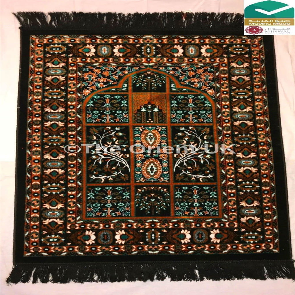 Thick Quality Luxury Pray Prayer Mat Salah Namaz Sijada Rug Carpet Mat Black