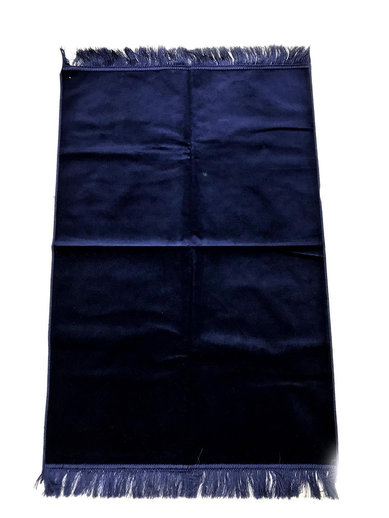 Plain Velvet Soft Pray Prayer Mat Namaz Salah Mat Hajj Ramadan 120x70 cm Dark Blue - The Orient