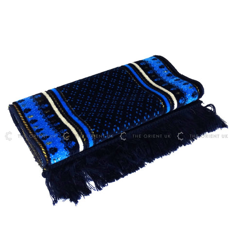 Children Prayer Mat Dark Blue Islamic Kids Pray Rug Namaz Carpet 60x35cm - The Orient