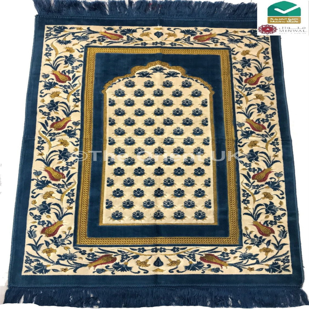 Luxury Soft Pray Mat Prayer Salah Namaz Sijada Rug Carpet Madina Made Blue - The Orient