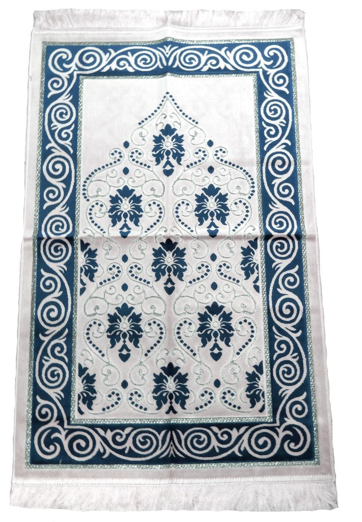 Soft Velvet Prayer Pray Mat Salah Sijada Mat Namaz 120x70 cm Light Blue - The Orient