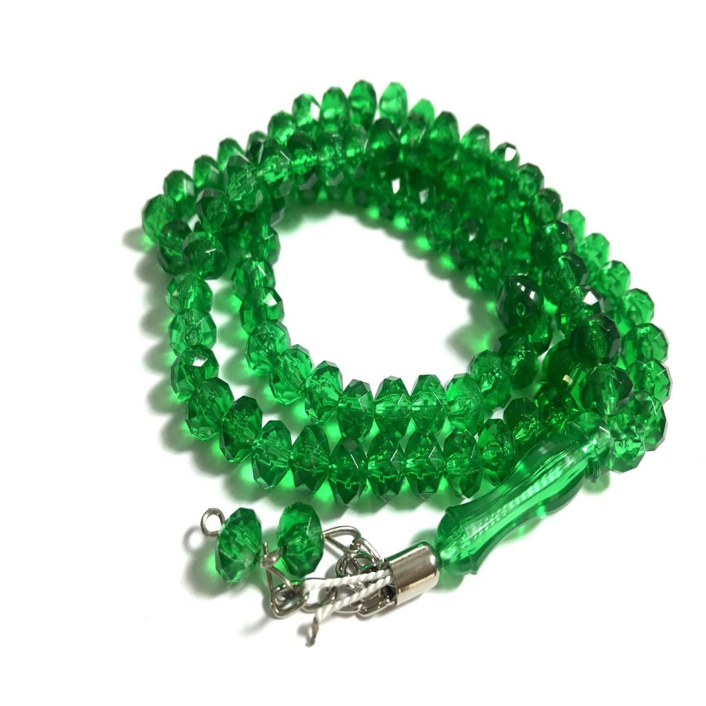 Islamic Tasbih Crystal 99 Prayer Beads Tasbeeh Dangling Tassel Muslim Counter Green - The Orient
