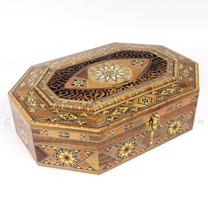 Wooden Mosaic Jewellery Trinket Box Gift Handmade Inlaid 34x24x10cm