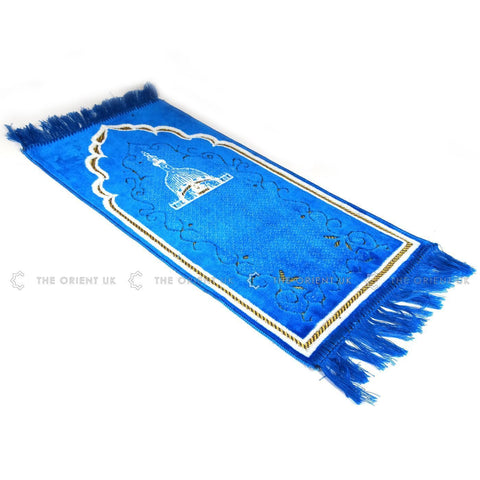 Children Prayer Mat Blue Islamic Kids Pray Rug Namaz Carpet 60x35cm - The Orient