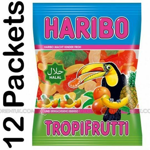 12x Haribo Tropifrutti Halal Sweets 80g Box of 12 Discount if you Buy +2 Boxes