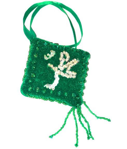 Allah & Muhammed Car Van Hanging Cushion Embroidered Green Tassel - The Orient