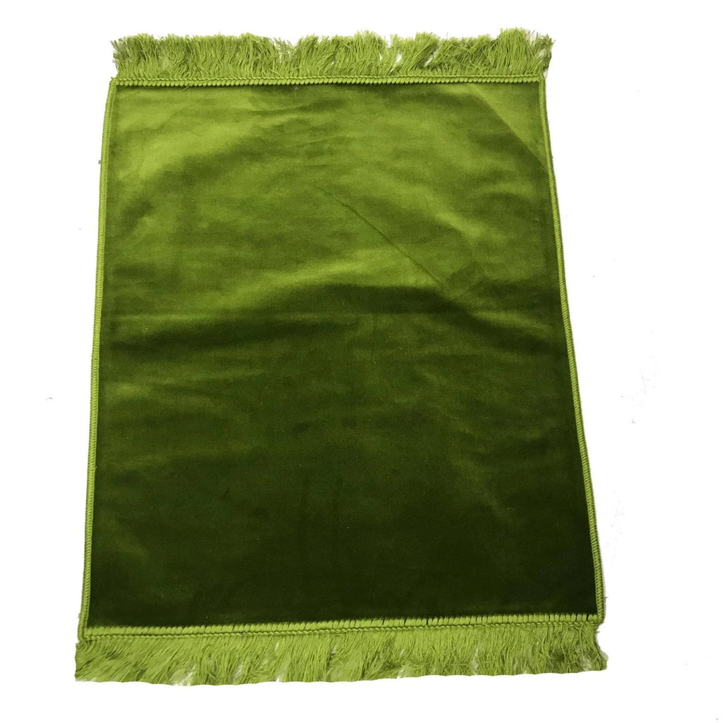 Islamic Muslim Kids Children Plain Velvet Soft Pray Mat Prayer Salah 80x30cm Green - The Orient