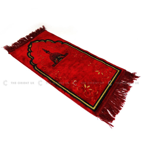Kids Children Prayer Mat Red Islamic Pray Rug Namaz Carpet 60x35cm - The Orient