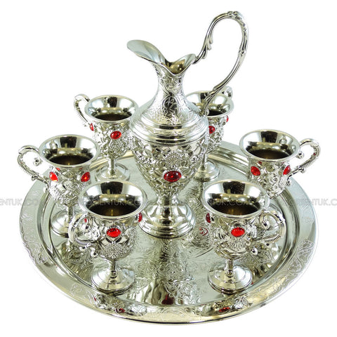 Antique Zamzam Drinking Set Silver Plated Turkish Jug Tray Cups - Blue - The Orient
