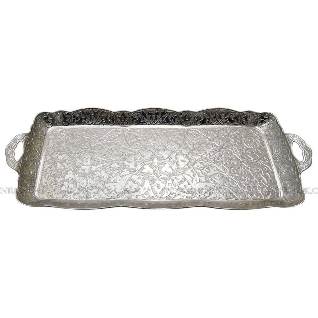 Antique Turkish Silver Serving Tray 37x14.5cm - The Orient