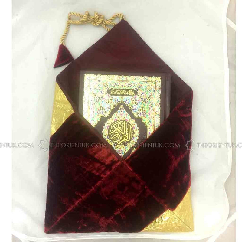 Velvet Quran Cover Book Case Gold Designed Gilaf 30 x 30 cm - The Orient