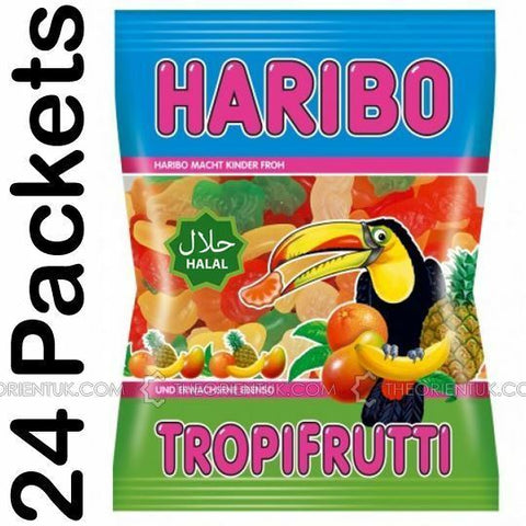 24x 80g Haribo Tropifruitti Sweet Children Kids Chewy Fruity Jelly Jellies Halal Haribo Super Quality Healthy Sweets