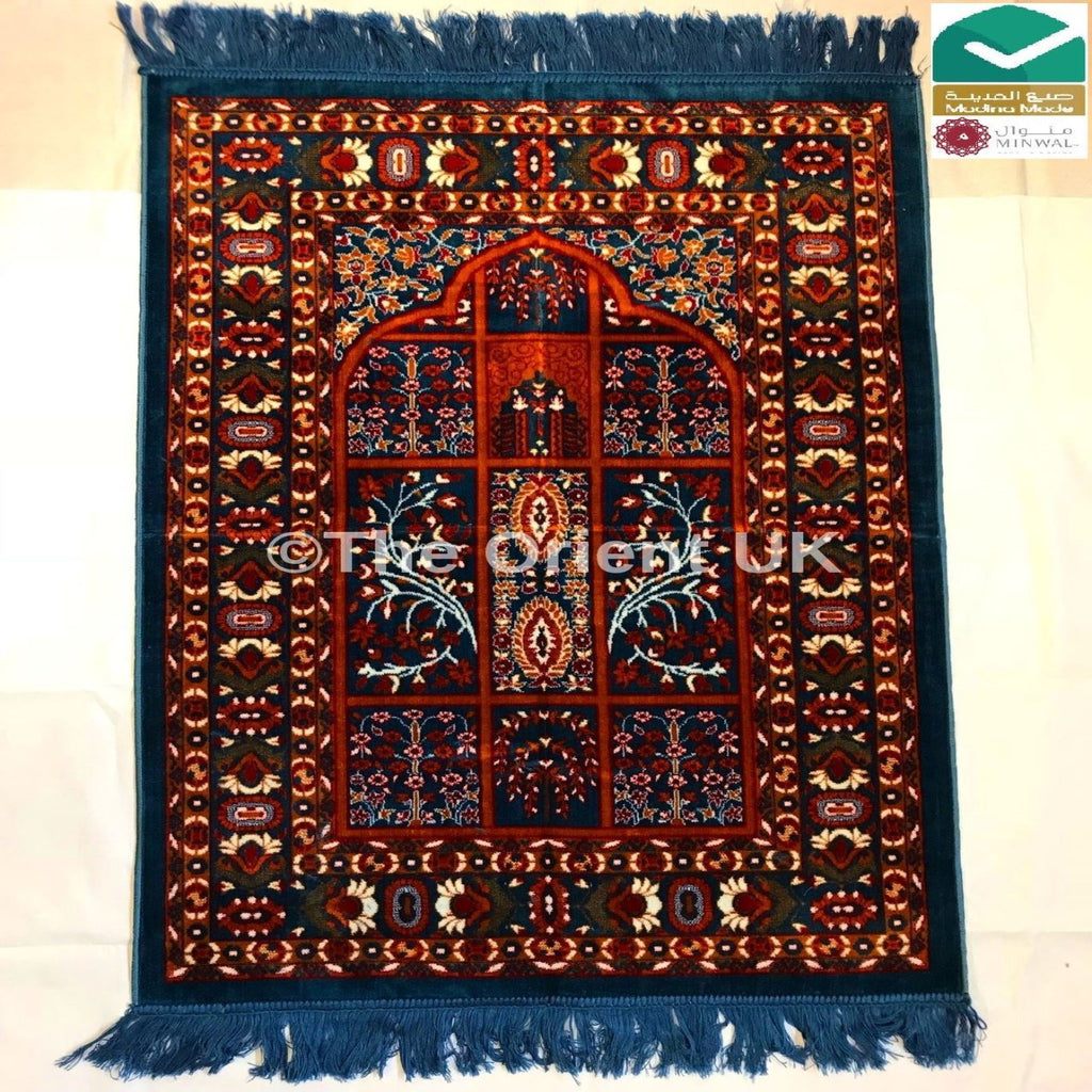 Thick Quality Luxury Pray Prayer Mat Salah Namaz Sijada Rug Carpet Mat Dark Blue - The Orient