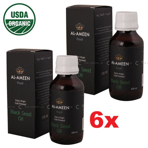 6 x Al Ameen Organic Royal Black Seed Oil - Extra Virgin Cold Pressed 100ml Quality - The Orient