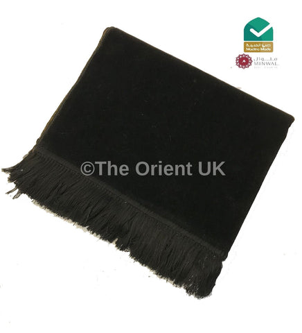 Plain Pray Mat HighQuality Madina Muslim Prayer Rug 110x70 Black - The Orient