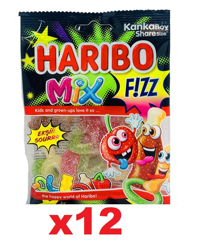 12 x Halal Haribo Mix Fizz Sour Jelly Jellies 70g 100% Halal