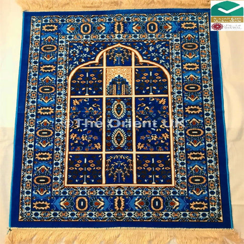 Thick Quality Luxury Pray Prayer Mat Salah Namaz Sijada Rug Carpet Mat Light Blue - The Orient