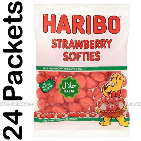 24x Haribo Strawberries Halal Sweets - The Orient
