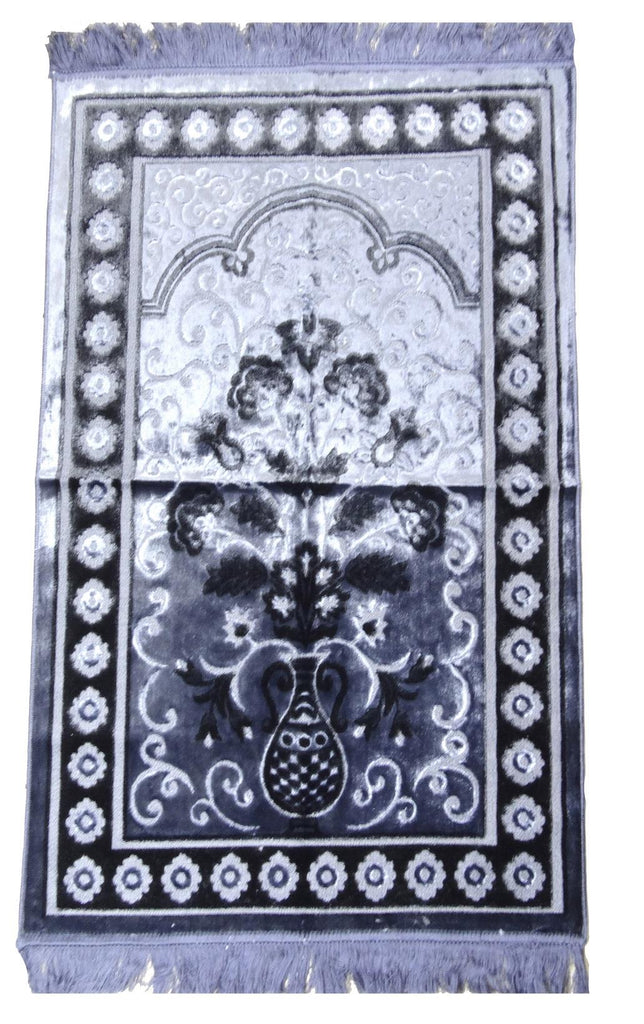 Large Muslim Islamic Pray Mat Thick Luxury Prayer Rug Salah Namaz Sijada Grey - The Orient
