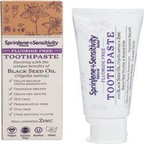 Sprinjene Natural Sensitivity Relief Toothpaste Black Seed Oil & Zinc Freshens Breath 99g - The Orient