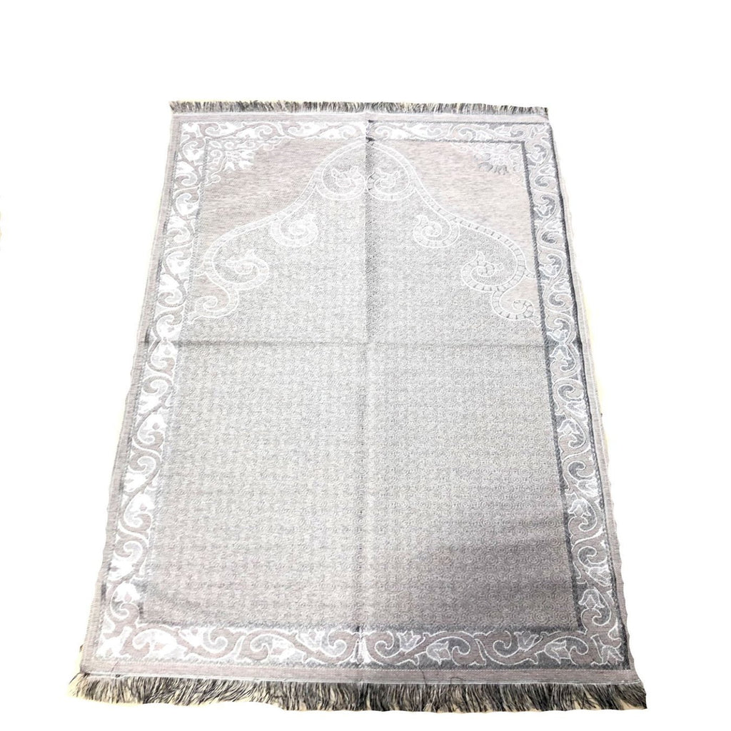 Large Double Side Design Islamic Salah Namaz Prayer Pray Mat Gift Grey 112x66cm - The Orient