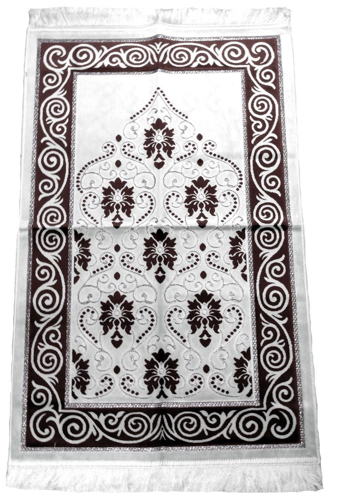 Soft Velvet Prayer Pray Mat Salah Sijada Mat Namaz Hajj 120x70 Brown - The Orient