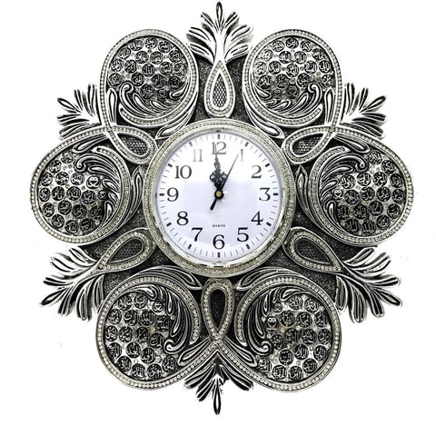 99 Names of Allah Round Wall Clock 38cm Hajj Eid Wedding Silver Gift Boxed - The Orient