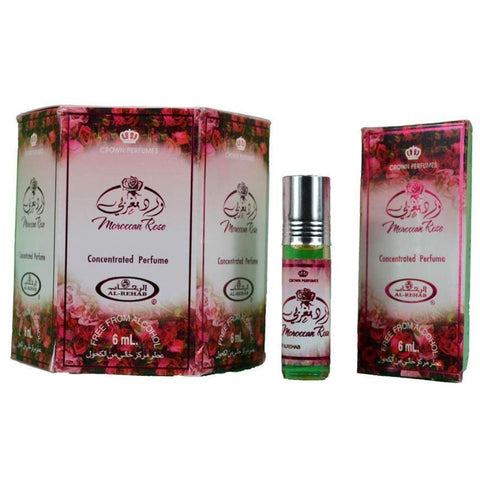 Al Rehab Moroccan Rose 12 x 6ml Perfume for Men Women Genuine Authentic Original Roll On Attar Fragrance - The Orient