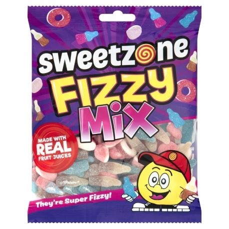 Sweet Zone Kids Children Fizzy Mix Real Fruit Super Fizzy Jelly Jellies