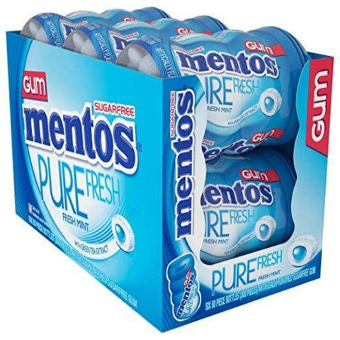6 x 50pk Mentos Pure Fresh Chewing Gum Sugar Free Pure Breath Mint & Green Tea Extract - The Orient