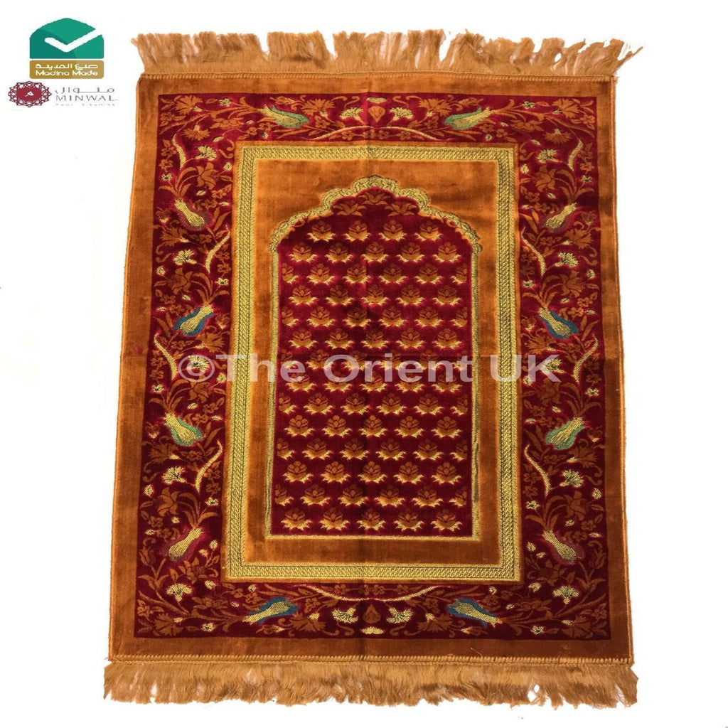 Luxury Soft Pray Mat Prayer Salah Namaz Sijada Rug Carpet Madina Made Orange
