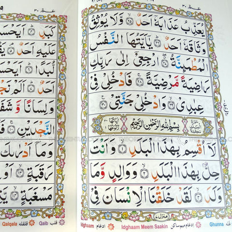Complete Quran Qur'an 30 Para Parts Juz 9 Lines Black or Colour Coded Tajweed - The Orient