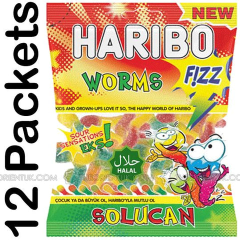 12x Haribo Fizzy Worms Halal Sweets - The Orient