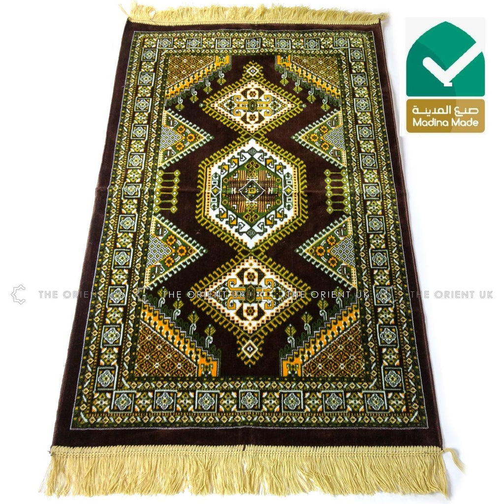 High Quality Madina Pray Mat Rug Muslim Prayer No Mihrab 110x70 Brown