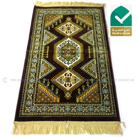 High Quality Madina Pray Mat Rug Muslim Prayer No Mihrab 110x70 Brown - The Orient