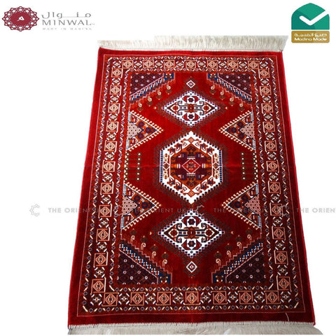 High Quality Madina Pray Mat Rug Muslim Prayer No Mihrab 110x70 Red