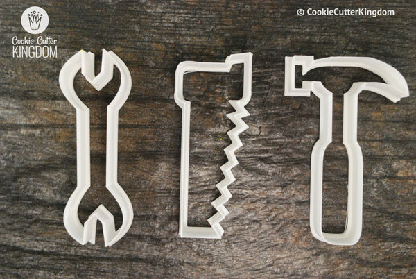 Wrench, Saw, and Hammer cookie cutter set.